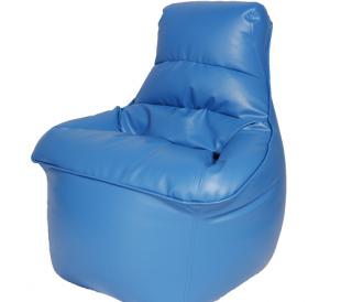 פוף כורסה דמוי עור בצבע כחול